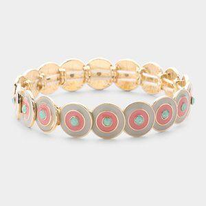 Multi Round Color Block Stretch Bracelet-CreamGold